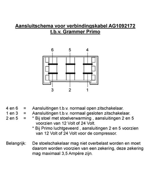 Aansluitkabel tbv Grammer MSG65/75 zitschakelaar/verwarming