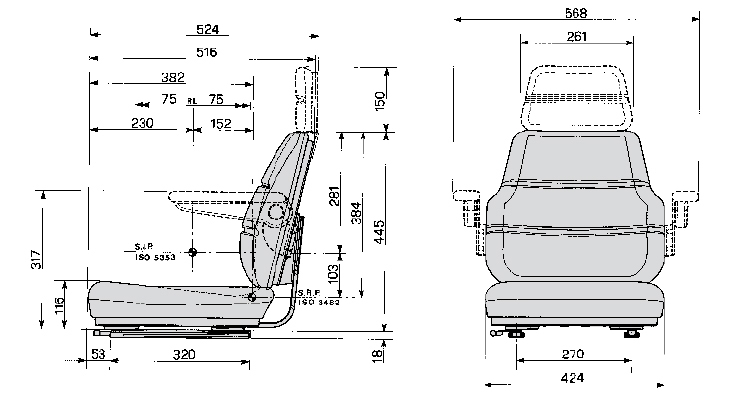Bovendeel / Topper Cobo SC70 STOF met verstelrails