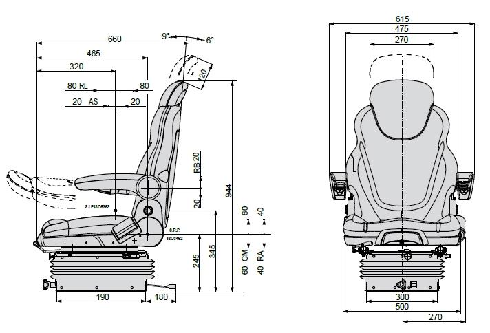 COBO luchtgeveerde bouwmachinestoel SC270/M98 24 Volt