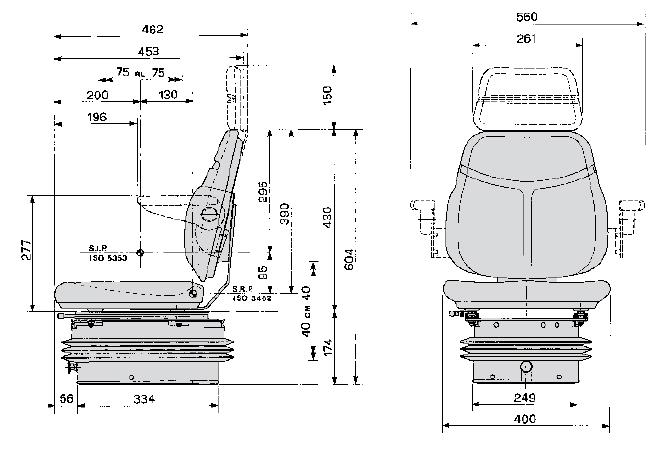 Cobo luchtgeveerde tractorstoel SC74/M97 PVC zwart
