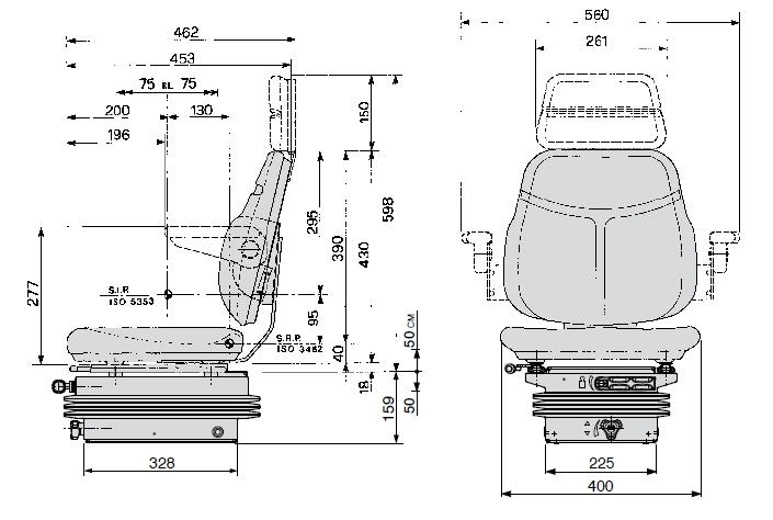Cobo mechanisch geveerde tractorstoel SC74/M200 Stof zwart