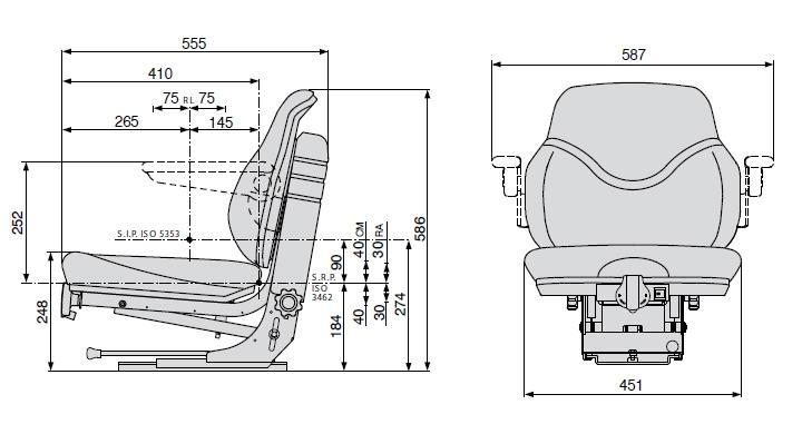 Cobo mechanisch geveerde tractorstoel SC79/M30 - Stof zwart