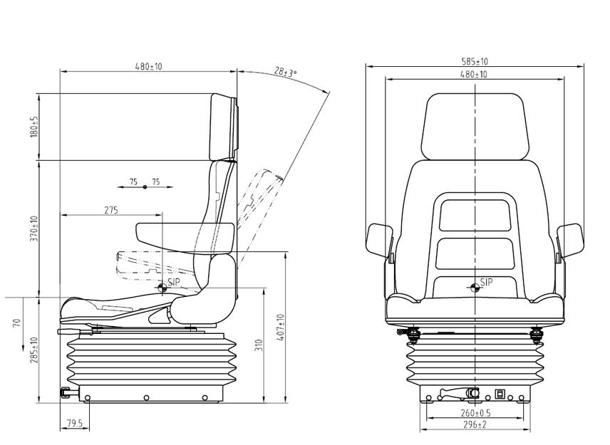 Geveerde tractorstoel E85/H90 PVC