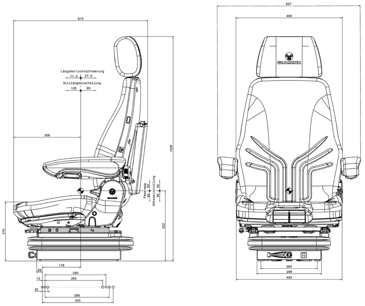 Grammer geveerde bouwmachinestoel Actimo M - MSG85/722 PVC