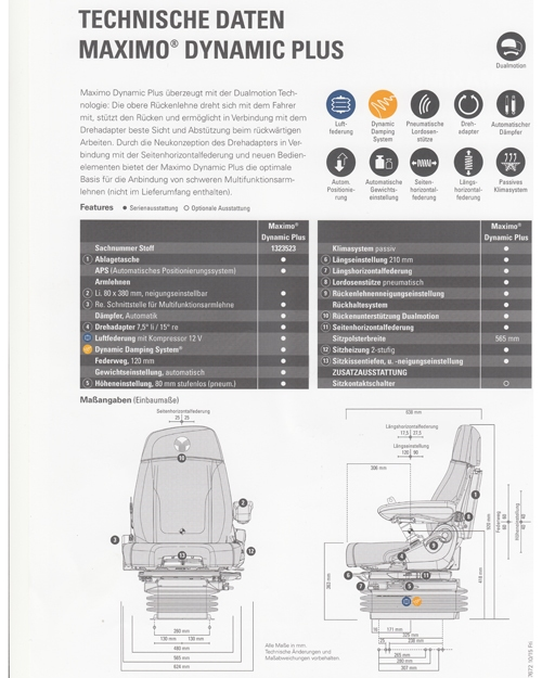 Grammer Maximo Dynamic Plus DUALMOTION met armleuning R