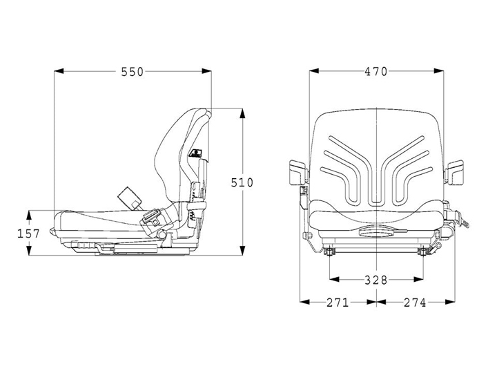 Grammer mechanisch geveerde heftruckstoel MSG20 PVC