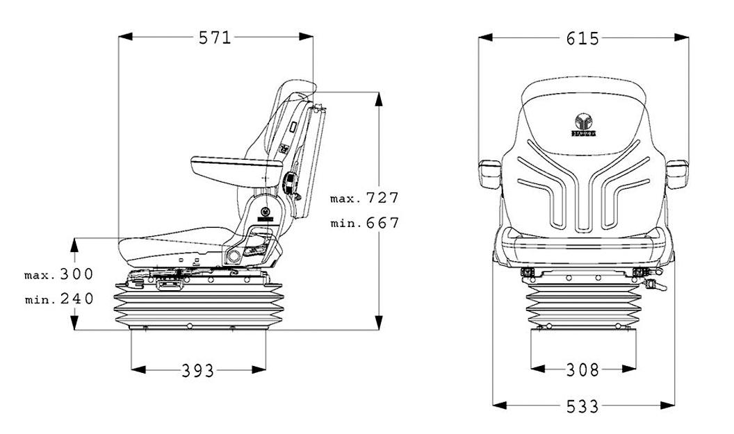Grammer mechanisch geveerde tractorstoel Maximo M basic