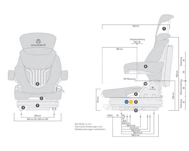 Grammer Primo Professional S luchtgeveerde stoel 12 Volt