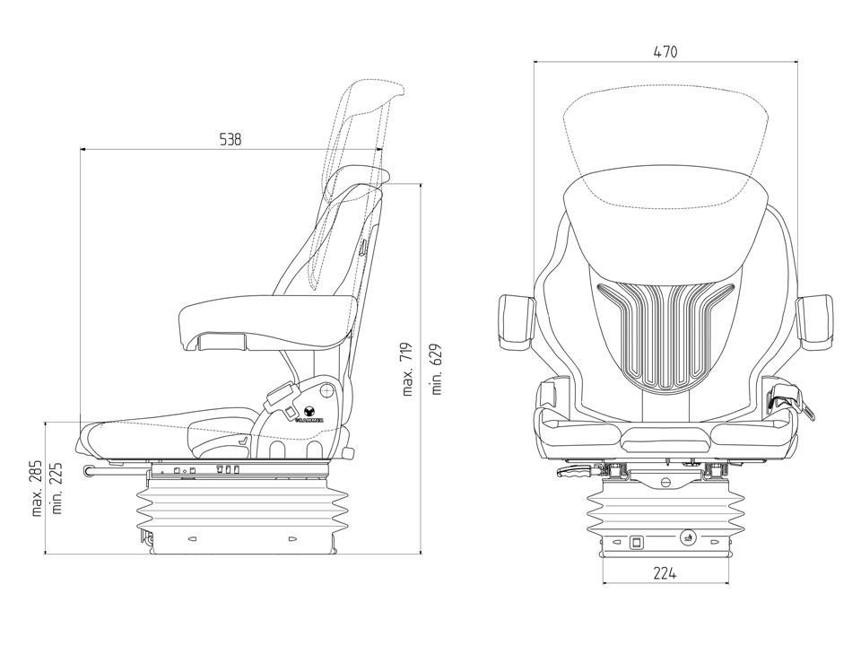 Grammer tractorstoel Compacto Comfort M stof AGRI