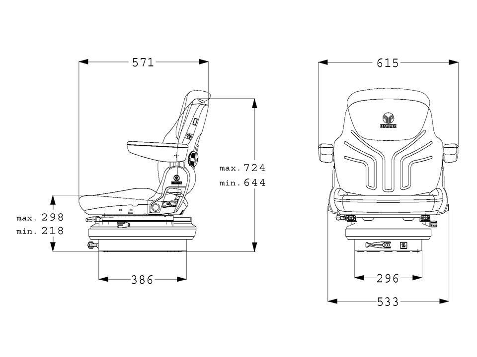 Grammer tractorstoel Maximo Basic stof AGRI