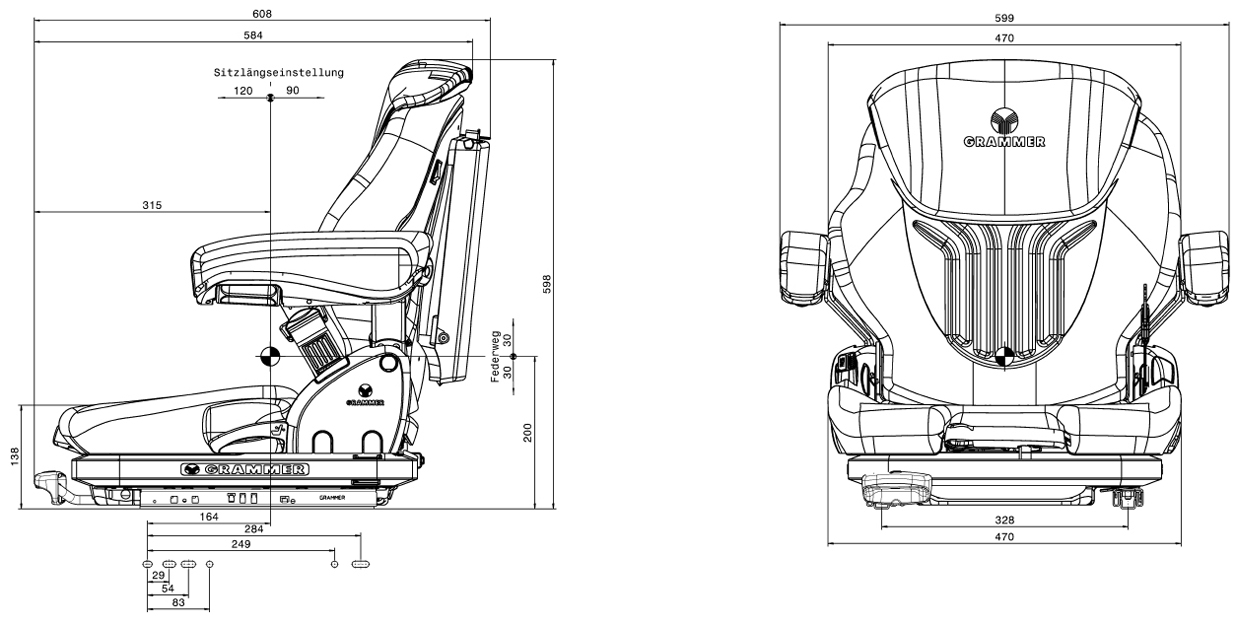 Heftruckstoel Grammer Primo M - MSG65/521 PVC