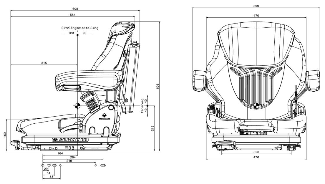 Heftruckstoel Grammer Primo XM - MSG65/521 stof bz