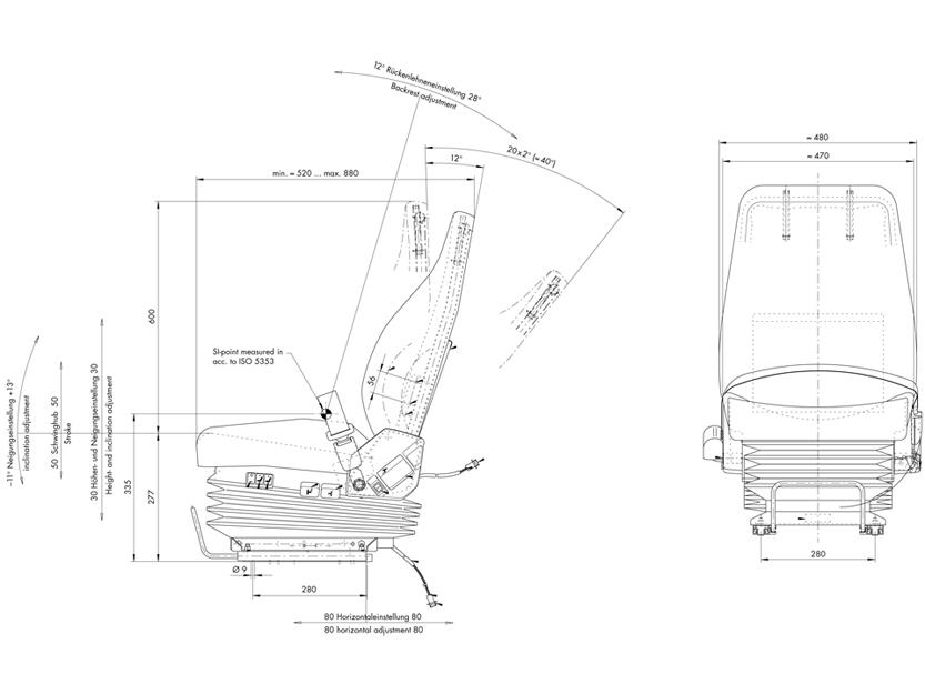 ISRI 6500KM/348 Originele luchtgev. stoel voor Volvo Shovels