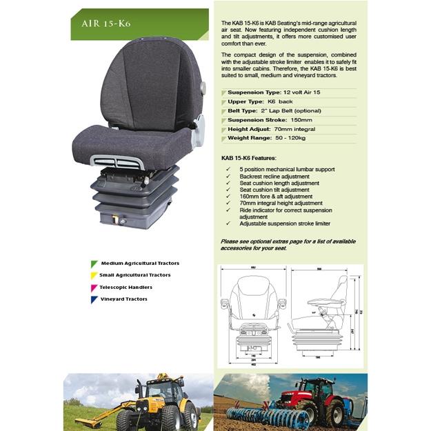 KAB 15-K6 luchtgeveerde tractorstoel | pvc grijs