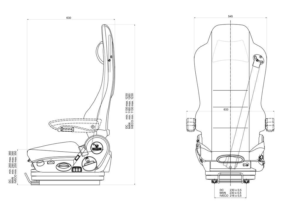 Luchtgeveerde vrachtautostoel Grammer Kingman Basic MAN