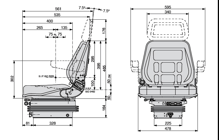 Mechanisch geveerde stoel COBO SC45/M200 met rolgordel