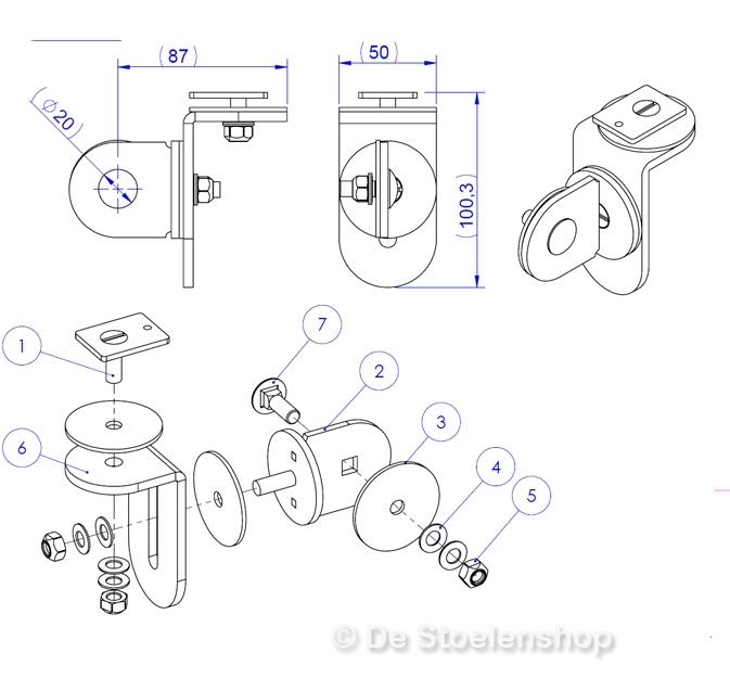 Montagebeugel 3-Way tbv joystickhouder arml. Frameco Ergo310