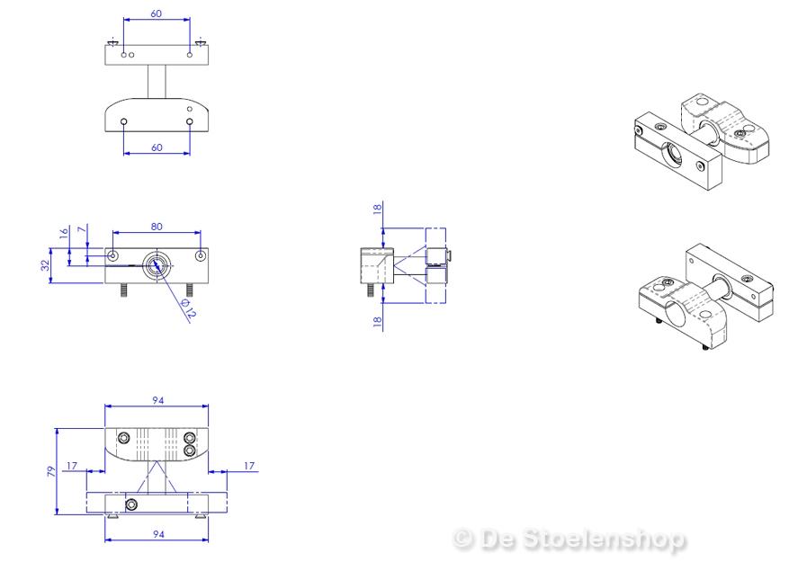 Montagesteun voor Joystickhouder / Joystick box Sittab