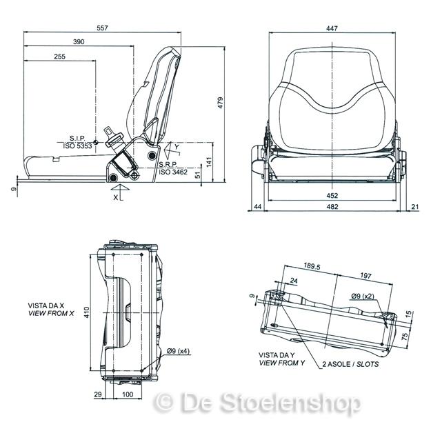 Opklapbare bijrijdersstoel met neerklapbare rugleuning 45 cm