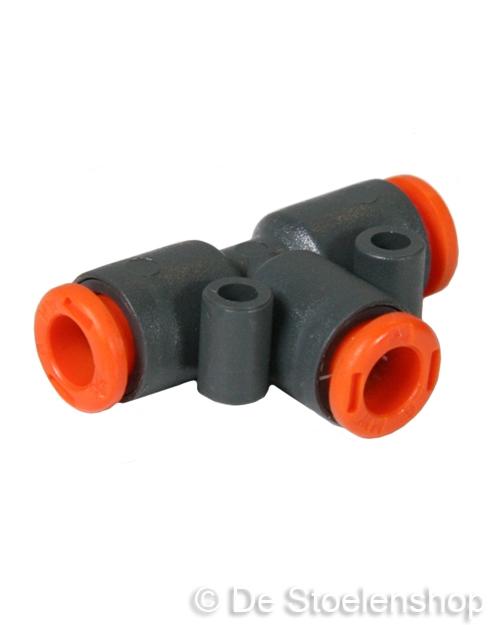 Push-in T-stuk voor het verbinden van 6 mm. luchtslang