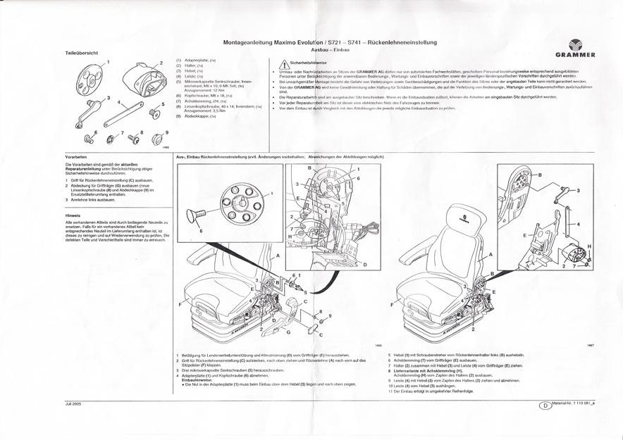 Rugleuningverstelling compleet tbv Grammer Maximo Evolution