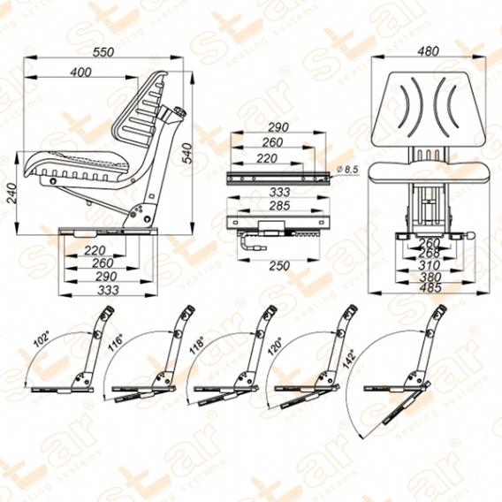STAR 11CS PVC lage, geveerde uitvoering tbv CASE-IHC