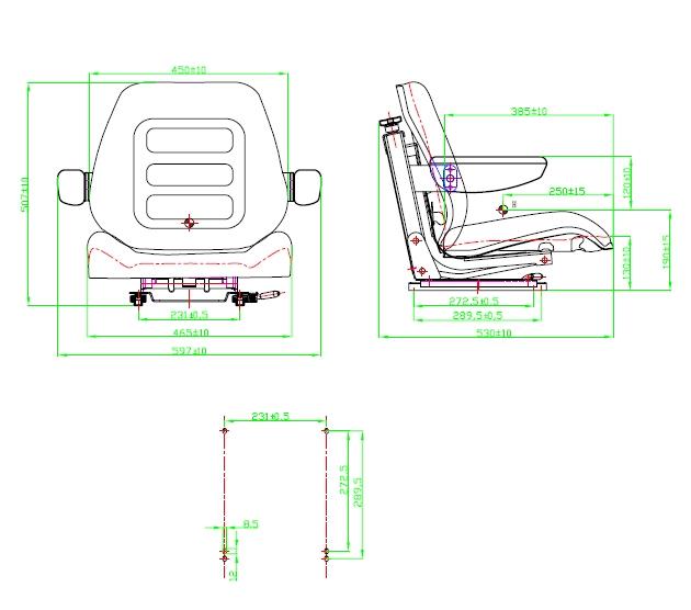 Tractorstoel extra lage geveerde uitvoering voor CASE-IHC